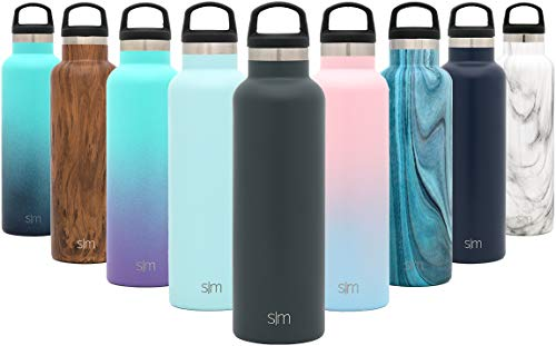 Simple Modern 17oz Ascent Water Bottle - Double Wall Vacuum Insulated Grey Small Reusable Metal Leakproof Thermos -Graphite - Stainless Steel Kids Thermos w/Handle Lid