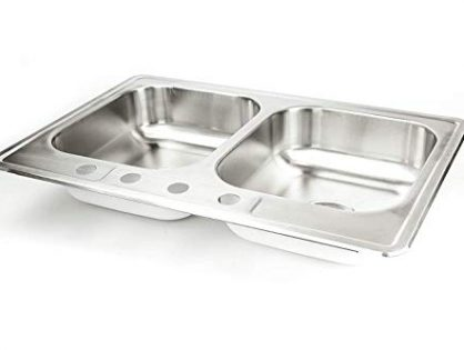 "Stainless Steel Kitchen Sink Drop In 33"" x 22"" x 8"" Top Mount Deep Sinks 18 Gauge 50/50 Double Bowl Dual Basin 33 Inch 22 Inches Self Rimming Dropin Over Mount T-304 18G Four Hole Design Great for RV"