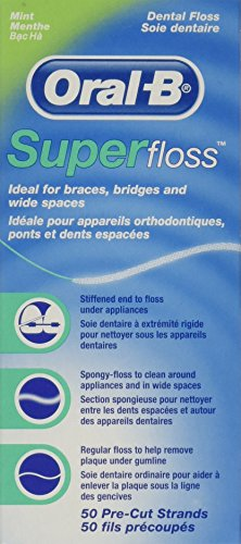 Oral-B Super Floss Mint Dental Floss Pre-Cut Strands 50 ea  Pack of 2