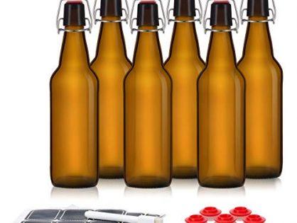 Leak Proof With Easy Caps - Bonus Gaskets - Flip Top Bottles For Kombucha, Kefir, Beer - Fast Clean Design - Set of 6 Brewing Bottles - Swing Top Glass Bottles - Amber Color - 16oz Size