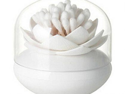 ESTD 1Pc Lotus Toothpick Cotton Bud Swab Holder Storage Box Home Decor