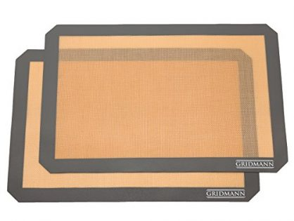 "GRIDMANN Pro Silicone Baking Mat - Set of 2 Non-Stick Half Sheet 16-1/2"" x 11-5/8"" Food Safe Tray Pan Liners"