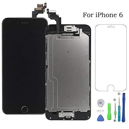 Screen Replacement for iPhone 6 Black LCD Display & Touch Screen Digitizer Frame Full Assmbly with Front Camera+Home Button+Sensor Flex+Earpiece Speaker+Screen Protector Free Repair Tools(4.7'' )