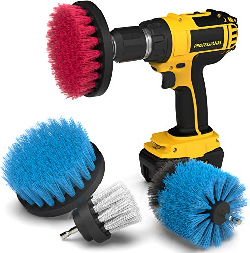 Drill Attachment Power Scrubber – Turbo Scrub Kit of 4 Scrubbing Brushes – All Purpose Shower Door, Bathtub, Toilet, Tile, Grout, Rim, Floor, Carpet, Bathroom and Kitchen Surfaces Cleaner