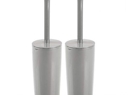 Sturdy, Deep Cleaning, 2 Pack - Gray - mDesign Slim Compact Plastic Toilet Bowl Brush and Holder for Bathroom Storage