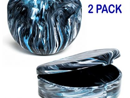 Elegancia Orthodontic Retainer Case 2pk Designer Marble Colors Designer Black Bean