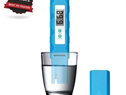 VANTAKOOL Digital PH Meter, PH Meter 0.01 PH High Accuracy Water Quality Tester with 0-14 PH Measurement Range for Household Drinking, Pool and Aquarium Water PH Tester Design with ATC