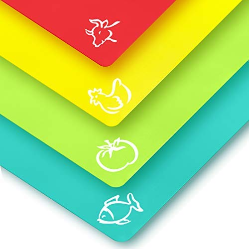 Quality Thin Cutting Boards 4 Colors - Food Icons - Plastic Cutting Mat Set - Extra Large by Zulay Kitchen - Non-Toxic, Flexible & Perfect for Chopping Vegetables, Beef, Fish, Chicken