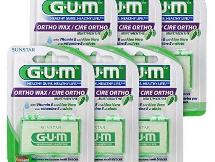 GUM Orthodontic Wax for Braces Pack of 6 Mint with Vitamin E and Aloe Vera