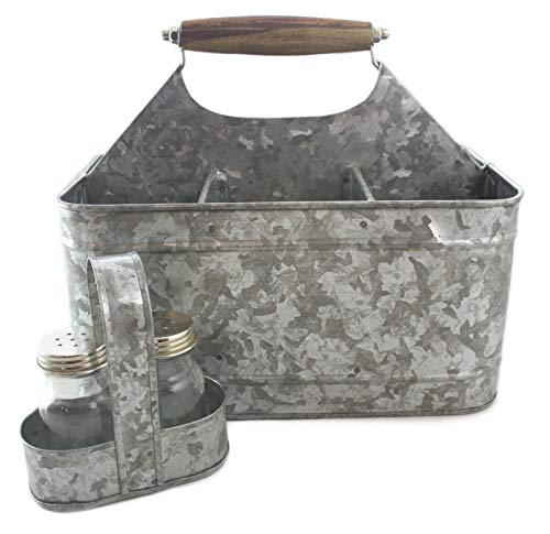 Galvanized Metal Caddy Plus Matching Salt and Pepper Shaker Farmhouse Rustic Carry-All Picnic Kitchen Utensil Organizer Condiment Holder by Well Pack Box