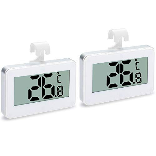 2Pack Refrigerator Thermometer, iBetterLife Digital Waterproof Wireless Fridge Freezer Temperature Monitor from -20 to 60 Degree -4 to 140 F w/Hook & Large Big LCD Display for Indoor/Outdoor