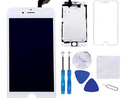 "Screen Replacement for iPhone 6 Plus White 5.5"" LCD Display Touch Digitizer Frame Assembly Full Repair Kit,with Proximity Sensor,Ear Speaker,Front Camera,Free Screen Protector,Repair Tools"