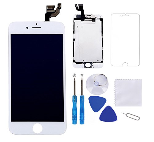 """Screen Replacement for iPhone 6 Plus White 5.5"""" LCD Display Touch Digitizer Frame Assembly Full Repair Kit,with Proximity Sensor,Ear Speaker,Front Camera,Free Screen Protector,Repair Tools"""