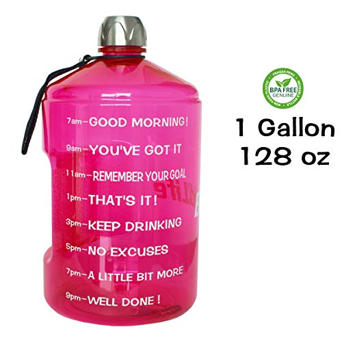 QuiFit 1 Gallon Water Bottle Reusable Leak-Proof Drinking Water Jug for Outdoor Camping Hiking BPA Free Plastic Sports BottlePink