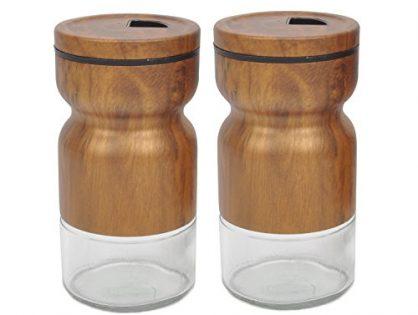 Evelyne GMT-10209-F 2-Piece Set Stainless Steel Covered Glass Salt & Pepper Shaker Seasoning Twist Rotating Cover