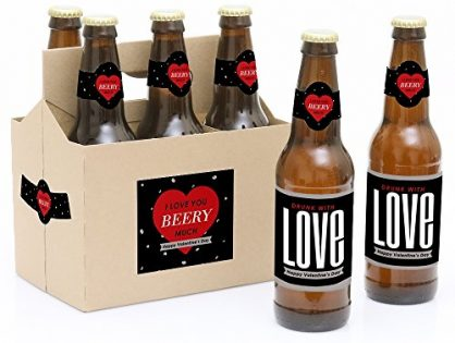 Valentine's Day - 6 Beer Bottle Labels and 1 Carrier