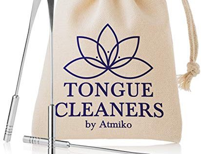 Tongue Scraper Cleaner 2 Pack Medical Grade Stainless Steel Metal Tongue Brush Dental Kit Eliminate Bad Breath with Tongue Sweeper Ayurvedic for Daily Oral Dental Hygiene Fresh Breath and Health