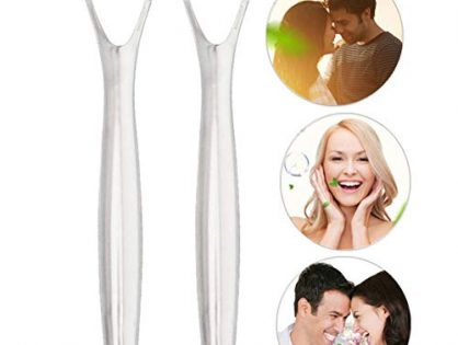 ARTIFUN 2 pcs Stainless Steel Tongue Scraper,Medical Grade Anti Bacterial Metal Tongue Scraping Cleaner for Plaque and Bacteria Removal, Fresh Breath, Oral Hygiene Care