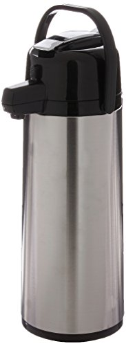 Service Ideas ECAL25S Eco-Air Lever Lid Airpot, Glass Vacuum, 2.5 Liter 84.5 oz., Brushed Stainless/Black Accents