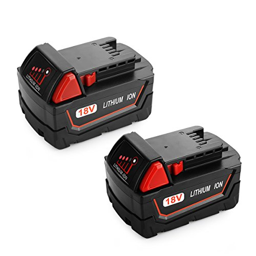 Energup 2pack 18V 6.0Ah Replacement Battery for Milwaukee M18 Cordless Power Tool 48-11-1850 48-11-1852 48-11-1840 48-11-1828 Milwaukee M18 Battery