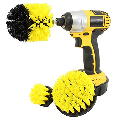 Drill Brush Attachment Kit Turbo Spin Power Scrubber Stiff Medium Soft Nylon Bristle Pool Tile Floor Brick Ceramic Marble Patio Furniture Car Motorcycle Wheel Pool Tile Floor 3 Replaceable Brush Heads