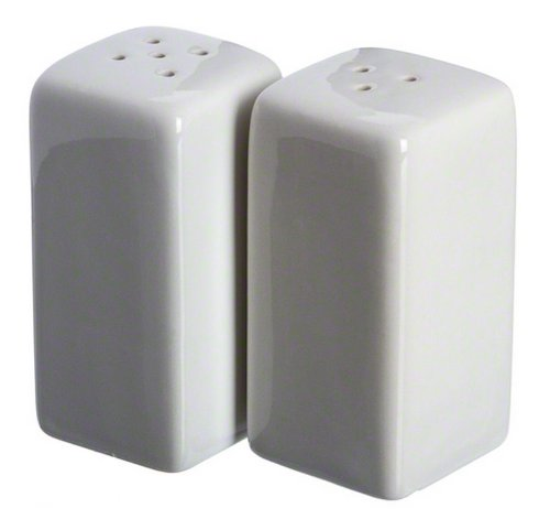 American Metalcraft CSPS3 Square Ceramic Salt & Pepper Shakers Set of 2