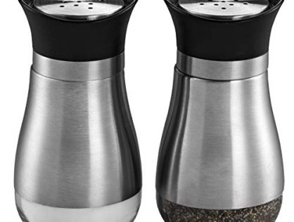 MITBAK Salt and Pepper Shakers 2-Pc. Set Modern Stainless-Steel w/Clear Glass Bottom | Compact Cooking, Kitchen and Dining Room Use | Classic, Refillable Design Black