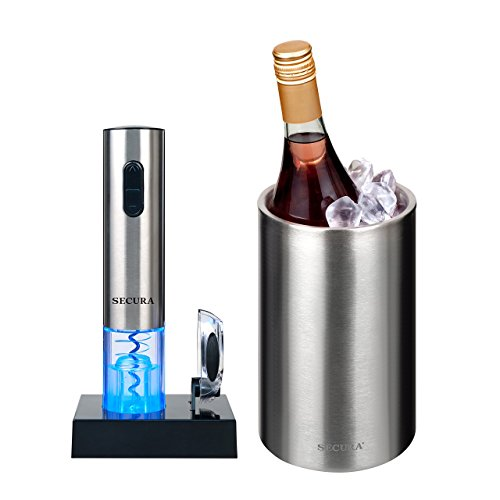 The Secura Premium Stainless Steel Electric Wine Bottle Opener and Ice Bucket Gift Set
