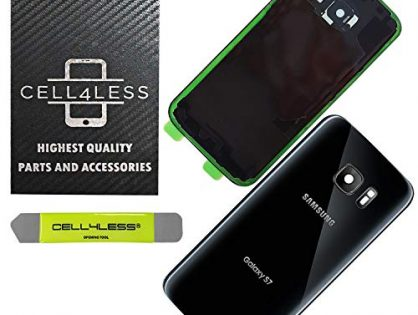CELL4LESS Compatible Back Glass Cover Back Door w/Installed Camera Lens, Custom Removal Tool & Installed Adhesive Replacement for Samsung Galaxy S7 - OEM Replacement Black - All Models G930
