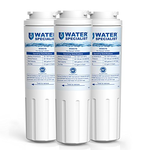 Waterspecialist UKF8001 Refrigerator Water Filter, Replacement for Maytag, PUR, Jenn-Air,  Filter 4, 4396395,  UKF8001AXX,  UKF8001AXX-200,  UKF8001AXX-750 Pack of 3