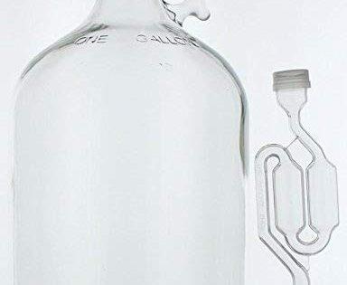Home Brew Ohio 1 gal Glass Wine Fermenter, INCLUDES Rubber Stopper and Twin Bubble Airlock