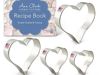 """Ann Clark Heart Cookie Cutter Set with Recipe Booklet - 4 Piece - 2 5/8"""", 3 1/4"""", 3 5/8"""", 4"""" - Tin Plated Steel"""
