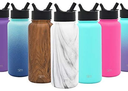 Simple Modern 22 oz Summit Water Bottle with Straw Lid - Carrara Marble - Vacuum Insulated Tumbler Powder Coated Travel Mug 18/8 Stainless Steel Flask