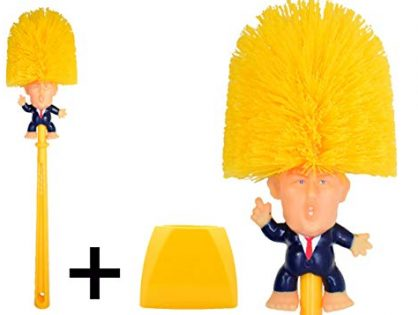 Famous Toilet Donald Trump Toilet Brush Bowl with Holder, Trumps Funny Political Gag Gifts for Your Friends, Make Your Toilet Great Again, The Presidential Novelty Gift. Trump Brush + Base