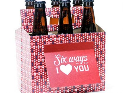 Paper Anniversary Gifts for Him, Craft Beer Gifts for Men, Women, Boyfriend, Man Gifts, Beer Lovers - Six Pack Greeting Card Box Set of 4 - Beer Valentines Day Gifts for Him or Her