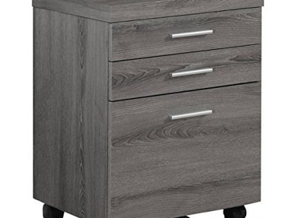 Monarch Specialties Dark Taupe Reclaimed-Look 3 Drawer File Cabinet/Castors