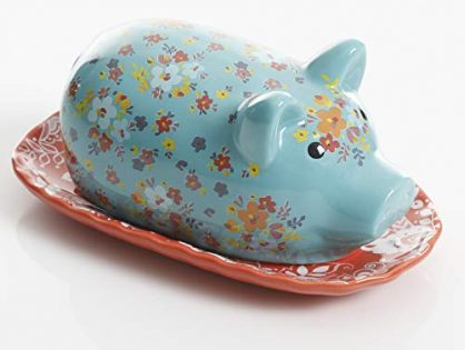 Urban Market by Gibson 99858.02RM Life on the Farm figural, Piggy, Butter Dish with lid, Blue