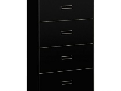 HON Filing Cabinet - 400 Series Four-Drawer Lateral File Cabinet, 30w x 19-1/4d x 53-1/4h, Black, 434LP