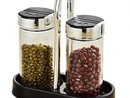Salt and Pepper set with Cylindrical Glass Bottle, with black tray Set of 2
