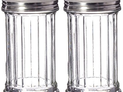 Great Credentials Set of 2 Sugar Shaker Retro Dispenser, Glass Jar, Perforated Stainless Steel Lid 12 OZ Each Pour-Flap Lid