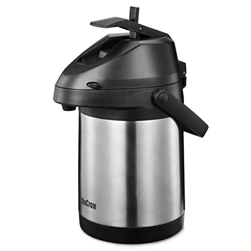 QuCrow Airpot Coffee Dispenser, Stainless Steel Vacuum Insulater Thermal Carafes, Thermal Coffee Airpot, 85 fl. oz 2.5 Liter