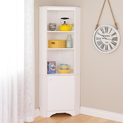 Prepac WSCC-0604-1 Elite Home Corner Storage Cabinet, Tall 1-Door, White