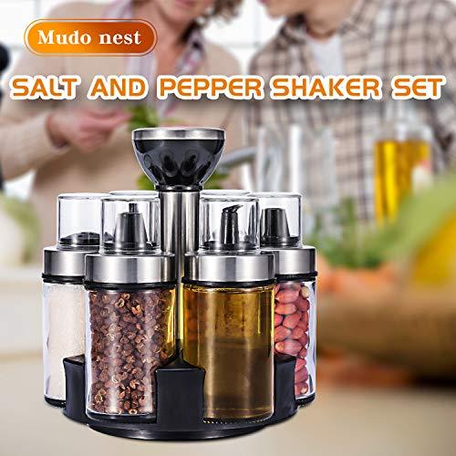 Salt & Pepper Grinder Set | Oil and Vinegar Dispenser Set | Serve Olive Oil, Sauce Wine, Spices | Cookware for Home Kitchen - Premium Salt and Pepper Shakers Set of 6 Bottles with 360°Rotating Holder
