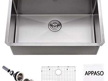 APPASO 30-Inch Silent PRO Kitchen Sink Undermount, 16-Gauge Stainless Steel 10-Inch Deep Commercial Handmade Single Bowl Kitchen Sink, HS3018