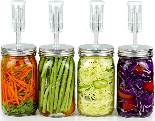 Fermentation Kit for Wide Mouth Jars - 4 Airlocks, 8 Silicone Grommets, 4 Stainless Steel Wide mouth Mason Jar Fermenting Lids with Silicone Rings 4 Set, Jars Not Included