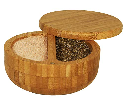 Uniquely and professionally crafted bamboo duet with two compartments for salt and pepper-great convenience for cooking- magnetic closure included - Himalayan pink salt & pepper packaged in the USA