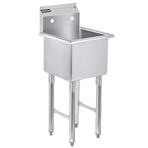 "1 Compartment Stainless Steel NSF Certified Easily Install - DuraSteel Utility & Prep Sink - 15"" x 15"" Inner Tub Size Commercial, Food, Kitchen, Laundry, Backyard"
