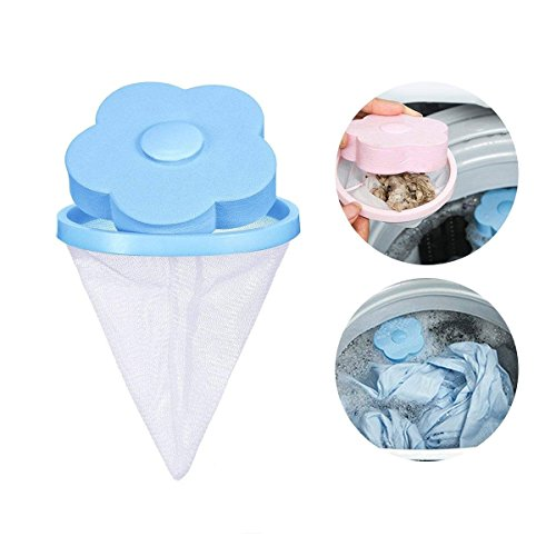 KOBWA Reusable Washing Machine Hair Removal Laundry Ball Floating Washing Machine Lint Mesh Bag Hair Catcher Filter Net Pouch, 1 Pcs