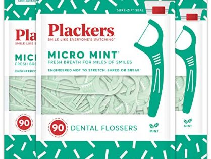 Plackers Micro Mint Dental Floss Picks, 90 Count Pack of 3