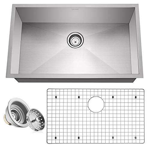 "Miligore 32"" x 19"" x 10"" Deep Single Bowl Undermount Zero Radius 16-Gauge Stainless Steel Kitchen Sink - Includes Drain/Grid"